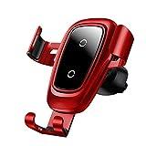 IPhone XサムスンS10 S9 S8モバイル車の電話充電器の高速ワイヤレス充電器カーマウントホルダー用チー車のワイヤレス充電器,赤