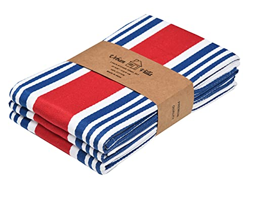 Urban Villa Kitchen Towels Trendy Stripes Independence Day Colors 100% Cotton Dish Towels Mitered Corners, (Size: 20X30 Inch) July 4th Specilal Highly Absorbent Bar Towels & Tea Towels - (Set of 3)