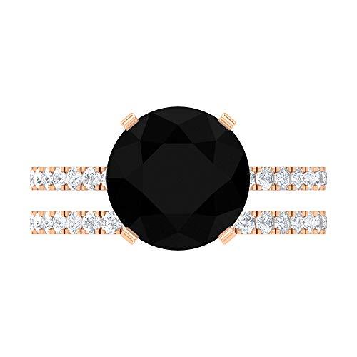 Juego de anillo solitario de diamante negro de 5,75 CT creado en laboratorio con moissanita (10 mm, diamante negro creado en laboratorio), 14K Oro rosa, Size:EU 53