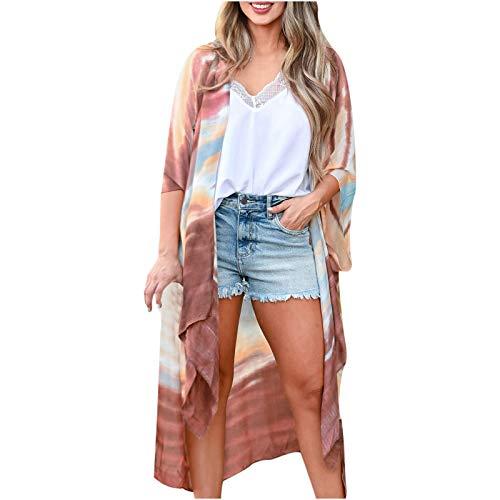 MRULIC Damen Florale Kimono Cardigan Boho Chiffon Sommerkleid Beach Cover up Leicht Tuch für die Sommermonate am Strand oder See (M, X-Weiß)