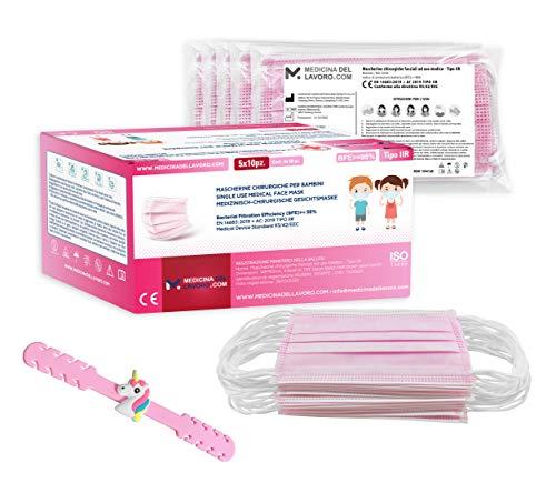 50 Mascherine Chirurgiche Colorate Rosa per Bambina Certificate CE Tipo IIR con BFE≥98, Mascherina Chirurgica Certificata, Face Mask Viso e Bozza Monouso 3 Strati, 50 Pezzi + Elastico Gancio Omaggio