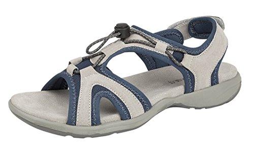 Boulevard Dames Dames Dames Super Comfy Lichtgewicht Leer Verstelbare Sandalen (5, Grijs/Blauw)