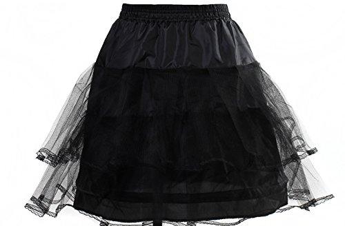 HIMRY® Reifrock Petticoat 1 Ring mit Spitze, Mini Unterrock superleicht und formstabil, Underskirt One Size Gr. 34 bis Gr.40, Hochzeitskleid Ballkleid Brautkleid Krinoline, Schwarz, KXB-0012 Black