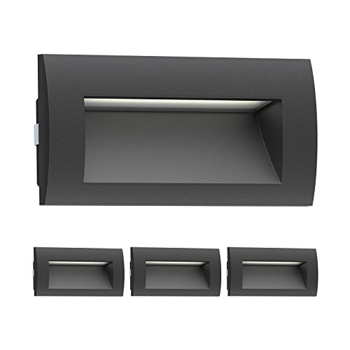 ledscom.de Luz LED de pared ZIBAL, Exterior, negro, blanco cálido, 140x70mm, 4pcs.
