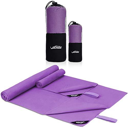 Mikrofaser Reisehandtuch 2 Stück(1 Badetuch 152x80 cm & 1 Hand Gesichtshandtuch - 80x38 cm),Schneller trocknender, saugfähiger Travel Handtuch für Sport, Backpacking, Strand, Yoga (Dark purple)