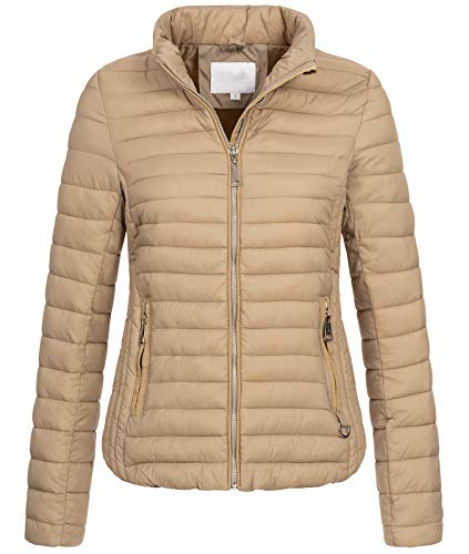 Rock Creek Damen Steppjacke Übergangsjacke Leicht Outdoorjacke Damenjacke Frauen Jacken Gesteppte Jacken Herbstjacke Jacke Weste D-427 Beige XS
