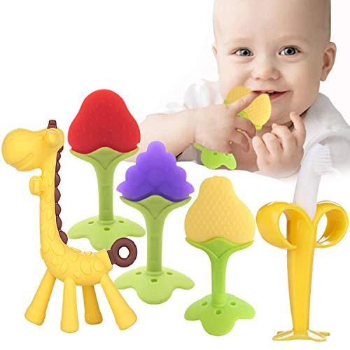5 piezas de juguetes para la dentición del bebé sin BPA, juguetes para la dentición de frutas suaves para bebés y bebés, congelador orgánico natural para los dientes del bebé, mordedor para mordedor