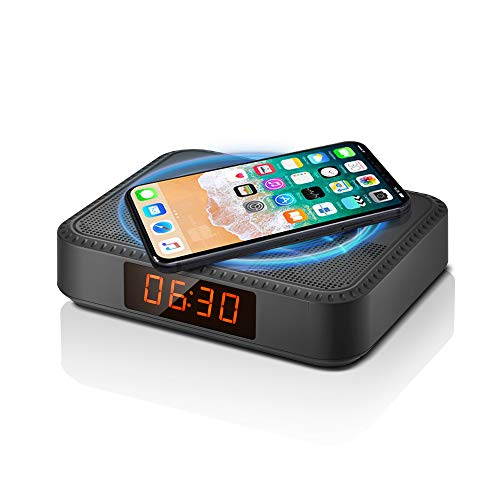 Bedside Smart Radio Alarm Clock with Phone Charger, QI Wireless Charger for iPhone Samsung, Portable Bluetooth Speaker, 7 Hrs Play Time, Bluetooth 5.0, TWS Function for Home Office Party (Black)