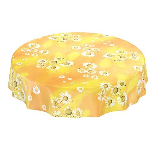 ANRO Wachstuchtischdecke Wachstuch Wachstischdecke Tischdecke Kamille Gelb Blumen Sonne Rund 140cm