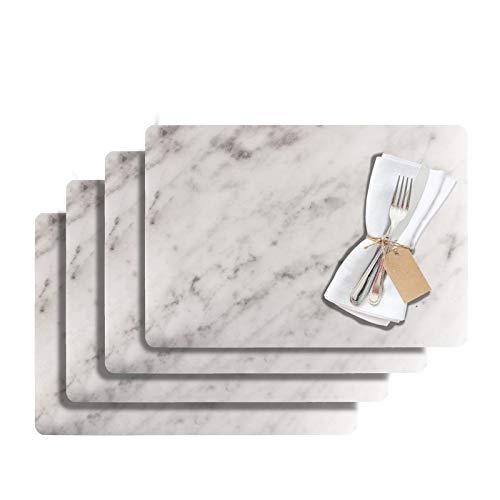Westmark Tischsets/Platzsets, 4 Stück, 43,5 x 30 cm, PET, Weiß, Saleen Edition: Marmor