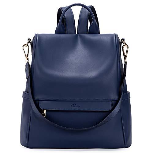 Women Backpack Purse Fashion Leather Large Travel Bag Ladies Shoulder Bags Dark Blue
