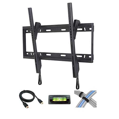 Atlantic Tilting TV Wall Mount - Tiling Mount for Flat Screen TVs from 37-84 inches with 6 Foot High-Speed HDMI Cable, Cable Ties and Leveler PN63607152