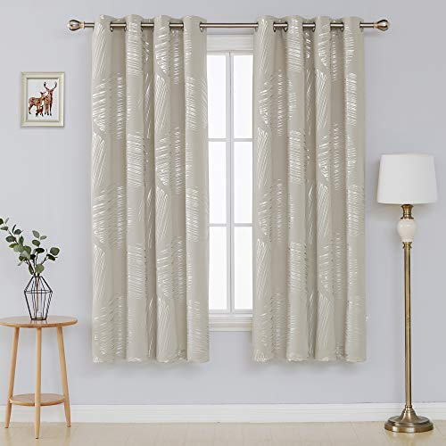 Deconovo Thermal Insulated Blackout Curtains Room Darking Panels Window Curtain Drapes for Bedroom 52 x 72 Inch Light Beige 2 Panels