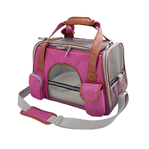 Hunderucksack hond drager-reis-autostoel Pet Carriers draagbare rugzak ademend Cat Cage Breath kleine hond reistas vliegtuig Approved 43x25x28cm fuchsia