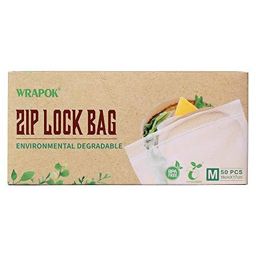 WRAPOK Kompostierbare Ziplock-Gefrierbeutel Wiederverschließbarer Sandwichbeutel, 50 Stück