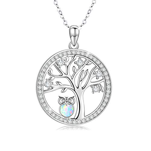 Tree of Life Owl Necklace Gift 925 Sterling Silver Cut White Opal Owl Pendants Gifts for Mum Jewellery for Women Gifts for Women Girls Kid Chain 18' with Gift Box(Necklace-3)