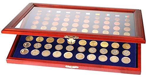 SAFE 5888 Holz Münzvitrine für 10 komplette Euro KMS Kursmünzensätze 1, 2, 5, 10, 20, 50 Cent & 1, 2 Euro Münzen   mit Glaseinsatz   Abmessungen : 375x260x30 mm