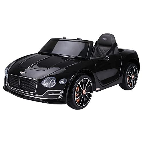 homcom Macchina Elettrica per Bambini Bentley con 2 Portiere Guida Manuale e Telecomando, Fari e Suoni, 108x60x43cm, Nero