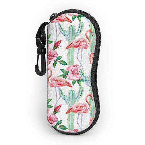 Pink Flamingo Cremallera Shell Gafas de sol Estuche/Estuches para gafas Unisex Durable Portátil Ligero 17x8cm