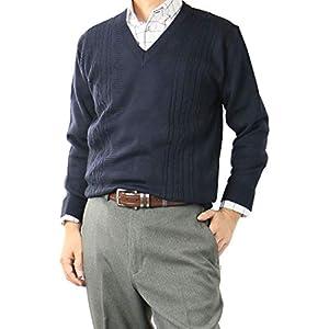 セーター メンズ 日本製 ビジネス Vネックセーター ニット 洗える ウォッシャブル ウォームビズ ウール混 318652 【2】ネイビー L