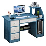 Modern Laptop Computer Desk, 40 Inch Small Desk Study Writing Table with Large Drawers & Storage, Simple PC Desk for Home Office Bedroom Small Space, 3 Colors (Blue)