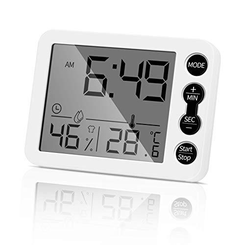 Aceshop Termómetro digital e higrómetro para interiores con indicador preciso de temperatura y humedad con reloj despertador, pantalla HD para hogar, dormitorio, cocina, oficina, invernadero (blanco)