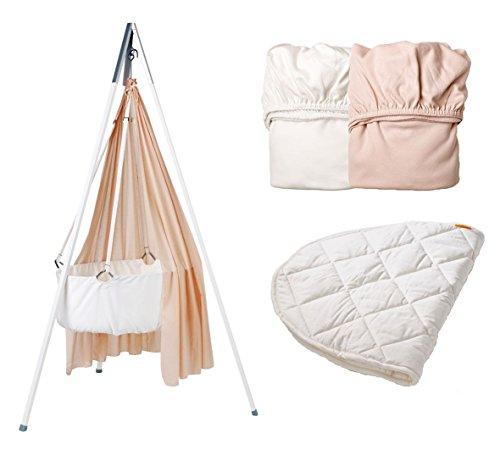 Leander Parure de berceau Set – All Inclusive : Berceau Blanc avec trépied Blanc, voile, Soft Pink, 2 draps housse 1 x Soft Pink/1 x blanc, 1 protège-matelas
