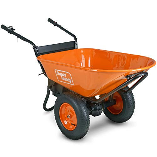 SuperHandy Wheelbarrow Electric Powered Utility Cart 48V DC 500W Li-Ion Driven Ultra Duty 330LBS (150kgs) Capacity and 4 cu.ft. of Cubage Material Debris Hauler (Amazon Exclusive only for USA)