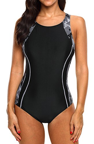 beautyin Womens Athletic Racerback Bathing Suit Competition One Piece Swimsuit