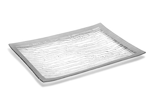 GAC Tempered Glass Tray Rectangular Glass Platter Unbreakable – Chip Resistant – Oven Safe – Microwave Safe – Dishwasher Safe – Stackable Decorative Plate and Glass Serving Tray Silver Rain Flower