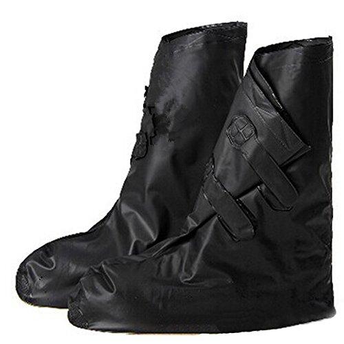 zhbotaolang Botas de Lluvia con Cremallera Reutilizables Unisex Zapatos Antideslizantes de Lluvia con Velcro Cubiertas de PVC a Prueba de Agua,Negro,M