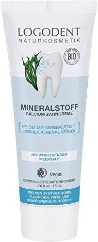 LOGODENT Natuurlijke cosmetica minerale stof calcium tandcrème, mild-frisse smaak, vrij van synthetische fluoridetoevoegingen, met mineraalrijk algeneraties, veganistisch, 3 x 75 ml