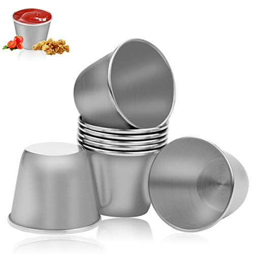 MotBach 8 Pieces 45ml15 Oz Stainless Steel Shot Cups Metal Sauce Cup Glass Drinking Cups Butter Container for Home Bar and Outside Camping