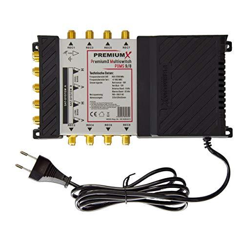 PremiumX PXMS 9/8 Multischalter mit Netzteil Multiswitch 2 SAT für 8 Teilnehmer Satverteiler Digital HDTV FullHD 4K UHD 8K
