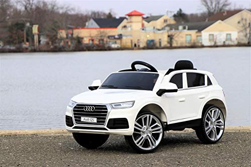 First Drive Audi Q5 White 12v Kids Cars - Dual Motor Electric Power Ride On Car with Remote, MP3, Aux Cord, Led Headlights and Rear Lights, and Premium Wheels