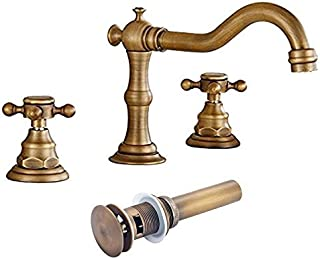 Votamuta Deck Mounted Three Holes Double Handles Widespread Bathroom Sink Faucet with Matching Pop Up Drain with Overflow,Antique Brass