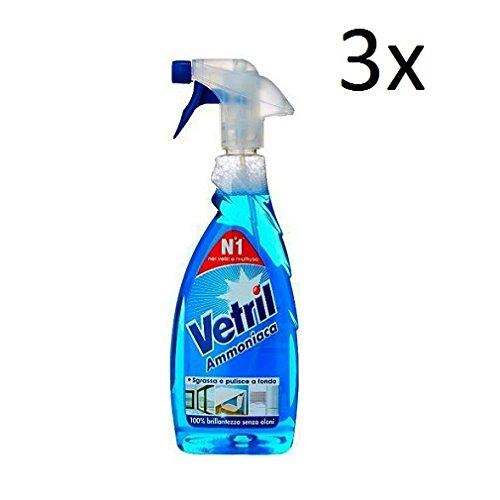 3X Vetril Ammoniaca vetri vetro pulitore 0,65L Ammoniaca