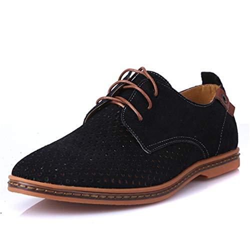 Qianliuk Männer Freizeitschuhe Leder Sommer Atmungsaktive Löcher Flache Schuhe für Hochzeitsfest