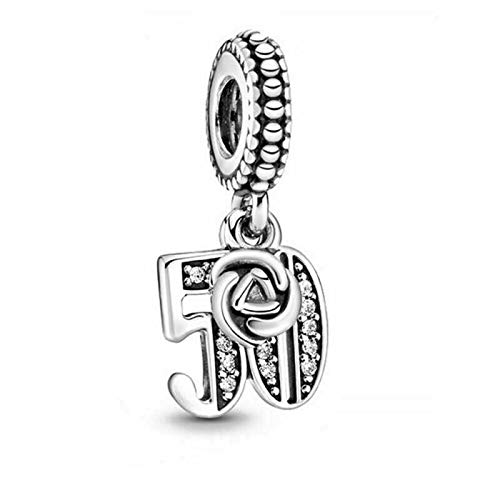 Silver Charms for Bracelets Lcuky Number 18 21 30 50 60 Dangle Celebration Pendant Gift,Years of Love Anniversary Birthday Pendant Dangle Charm 925 Sterling Silver Pendants Beads (50TH)