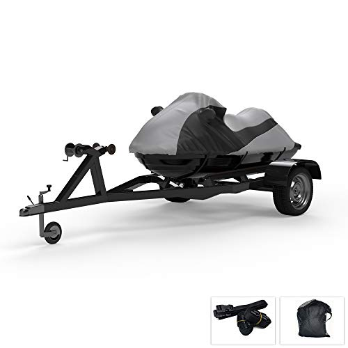 Custom Fit Weatherproof Jet Ski Covers Full for Tiger Shark TS 640 / TS 770 1998-1999 - Gray/Black - Trailerable - Protect from All Weather - Rain & Sun - Free Trailer Straps & Bag