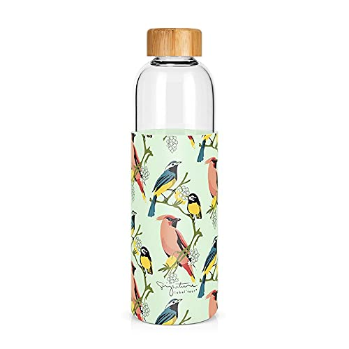 Label - Tartera de cristal y funda de silicona con tapón de bambú, diseño de pájaros de 750 ml, altura: 25,5 cm
