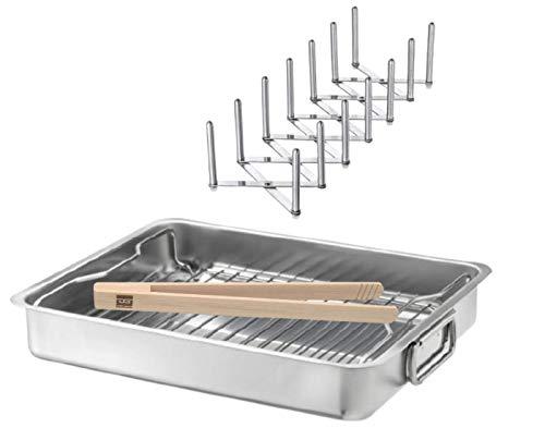 DeeGoods IKEA KONCIS Ofenform mit Rost und VARIERA Deckelhalter aus Edelstahl und Grillzange Set Spare Ribs BBQ