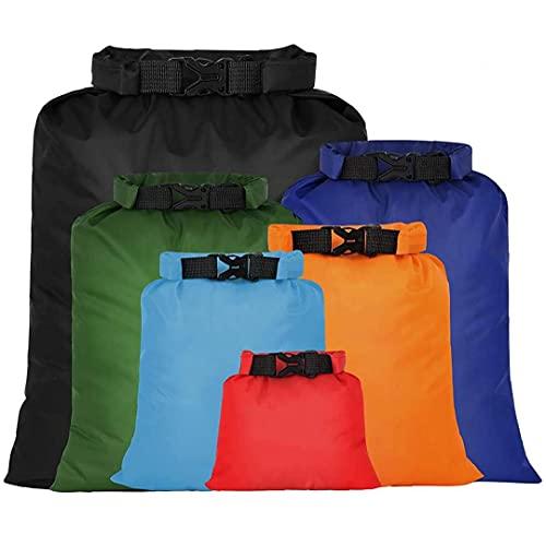 Tuimiyisou Bolso Seco Impermeable Ultraligero Deriva Esnórquel Seco Aire Libre Sacos Bolsa De Almacenamiento para Camping Navegación Rafting Color 6pcs