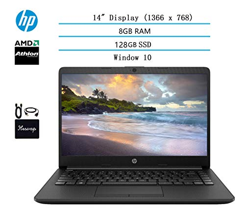 "2020 Newest HP 14"" HD Laptop for Business and Student, AMD Athlon Silver 3050U Processor (Beat i5-7200U), 8GB DDR4 RAM, 128GB SSD, 802.11ac, WiFi, Bluetooth, HDMI, Windows 10 w/HESVAP Accessories"