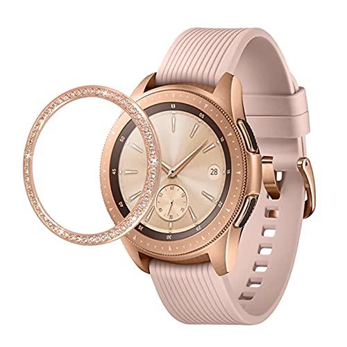 PEIPEI HanGao Bisel Bling Encajar for Samsung Galaxy Watch 42mm 46mm/Engranaje S3 Frontera Diamante Anillo de Metal Cubierta Adhesiva Anti Watch Accesorios Parachoques