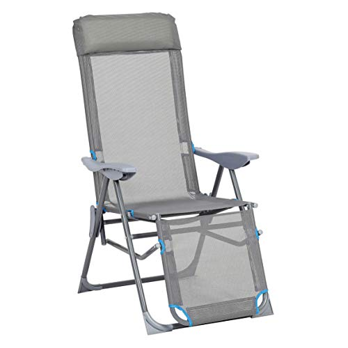 greemotion Relaxsessel Lido, klappbarer Liegestuhl, Gartenstuhl mit Aluminium-Gestell, Klappstuhl mit 5-fach verstellbarer Rückenlehne, in Grau/Blau