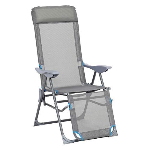 greemotion relaxstoel Lido, inklapbare ligstoel, tuinstoel met aluminium frame, klapstoel met 5-voudig verstelbare rugleuning, grijs/blauw