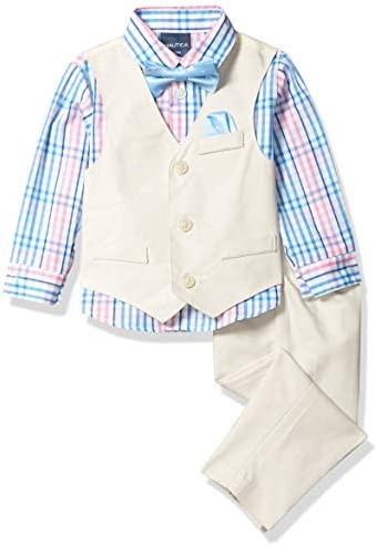 Nautica Baby Boys 4 Piece Set with Dress Shirt Vest Pants and Tie Bamboo 3 6 Months product image