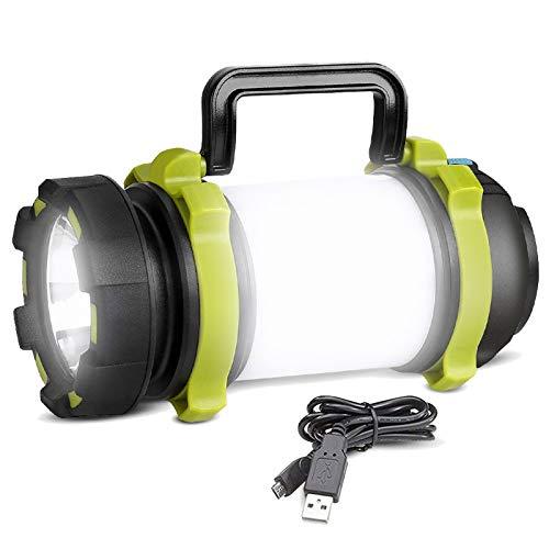 REEXBON Linterna de Cámping Recargable Antorcha LED 4 Modos de Luces de Trabajo 4000mAh Power Bank Farol de Cámping Resistente al Agua con Cable USB para Senderismo Pesca Emergencia y Más
