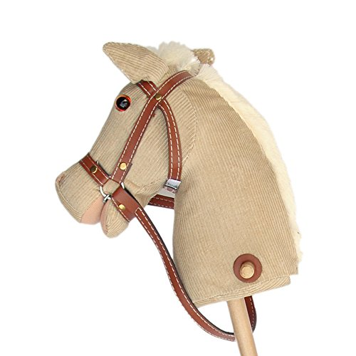 Pink Papaya Steckenpferd, Cordy, süßes Spielzeug Pferd aus Cord mit Sound Funktion: Gewieher und Galoppgeräusch - Farbe: braun mit weißer Mähne
